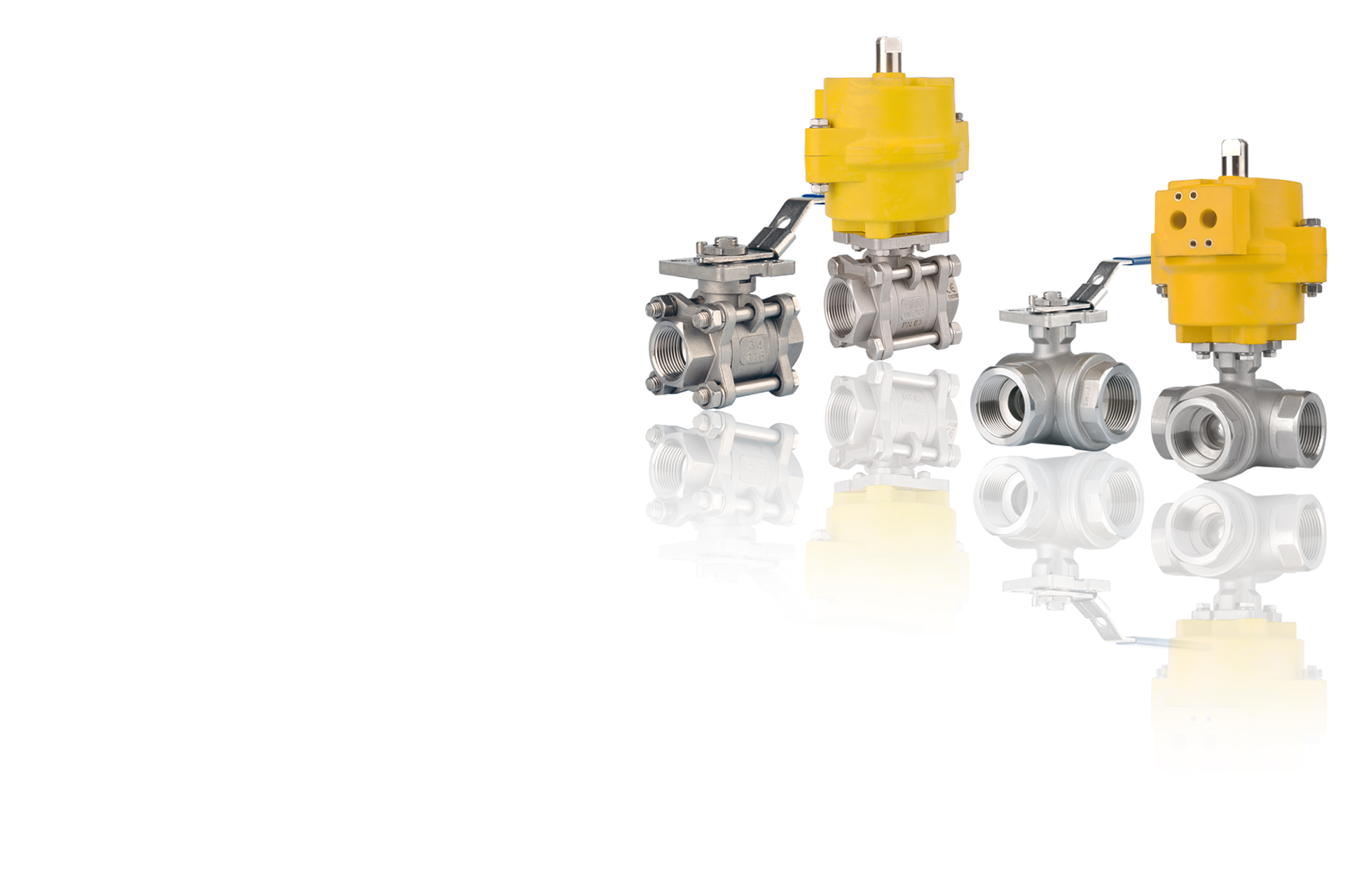 TWO THREE WAY BALL VALVES